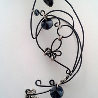 Black Elven Ear wrap -Custom 11 colours Fairy Elf Ear Jewelry - Non Pierced. Fairy ear wraps