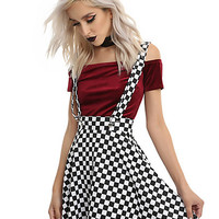Black & White Checkered Suspender Skirt
