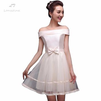 LANSITINA 2017 New Style Net Mini Bridesmaid Dress Cheap Bow A-Line Party Prom Dresses Junior Bridesmaid Dresses