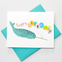 Party Narwhal - Cute Happy Birthday Card - Illustrated Card