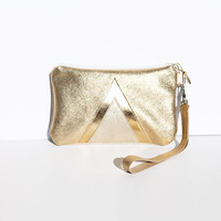Gold Holographic Leather Wristlet // Art Deco // Zipper Coin Pouch // Wedding Bag // Geometric // Bridesmaid // Wallet