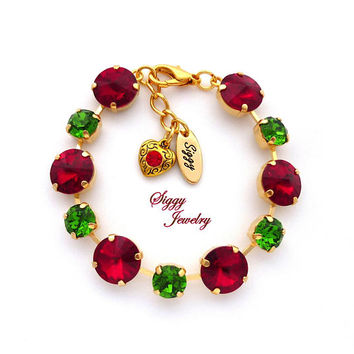 Swarovski Crystal Bracelet, 12mm Rivoli, Siam Red and Fern Green, Holiday Christmas Jewelry, Assorted Finishes, Jingle Bell Rock