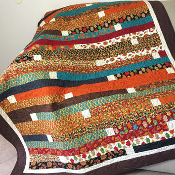 Autumn Forest Fancy Jelly Roll Race Lap Quilt or Sofa Throw in Brown, Rust, Black and Teal, Quilted Throw for Fall, Quiltsy Handmade