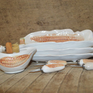 Vintage Corn Cob Dish Set of 4 Butter Warmer Dish with Brush and 4 Corn Forks