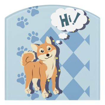 Thoughtful Shiba Inu Door Sign