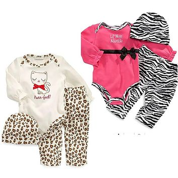 Hot fashion autumn baby girl clothes little cat rompers + pants + hat 3pcs  baby winter clothing sets  kids suit