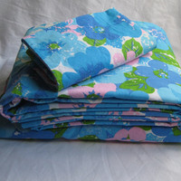 Vintage Bedding Set Blue Pink Flowers Full Size Flat Fitted Sheets Pillowcase 3 Piece Wabasso Made in Canada Clean Used 2 Sets Available