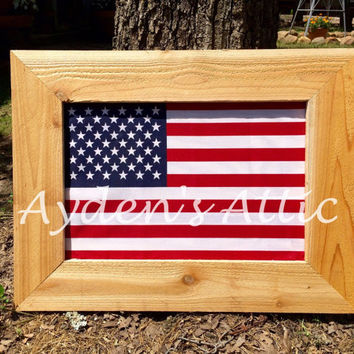 Rustic cedar framed American flag. Patriotic decor. Americana wall hanging. Flag decor. July 4th. Fourth of July. Proud to be an American.