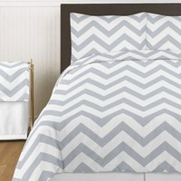 Sweet Jojo Designs Chevron Comforter Set in Grey and White