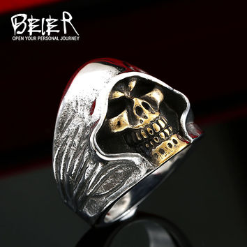 Hell Death Skull Ring part plated gold