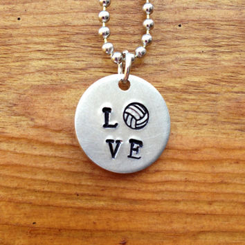 LOVE Volleyball Necklace  Hand Stamped by KennabelleDesigns