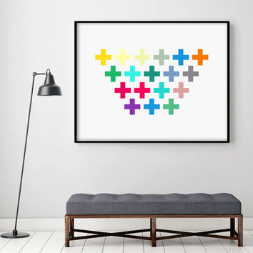Abstract Art Digital Poster Geometric Minimalist Print Swiss Cross Art Home Decor Modern Giclee Pattern Gallery Wall Extra Large PRINTABLE