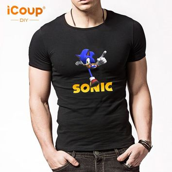 2017 iCoup Men's Sonic The Hedgehog T-shirt Cotton anime novelty design High Quality