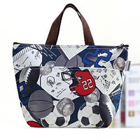Navy Blue Soccer Ball Print Lunch Bag