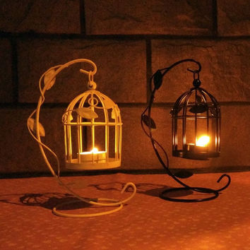 Cage Iron Creative Romantic Lights Home Decoration Candle Stand [6034199233]