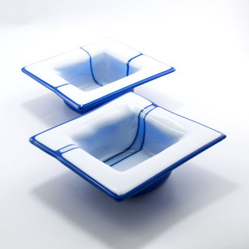 Blue and White Square Fused Glass Bowls, Set of 2, Soup Bowls, Modern Kitchen, Unique Wedding Gift For Couples, Dinnerware Set, Tableware