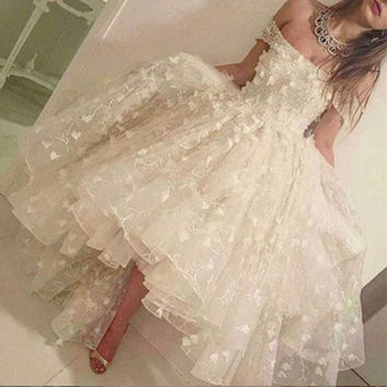 Sexy High Low Off the Shoulder Lace Evening Dresses 2017 Formal Women Tea-Length Puffy Party Prom Gowns robe de soiree VE344