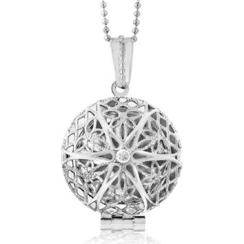 "Locket Pendant Necklace Charm 1"" Round Shape Engraved Filigree with 28"" Chain"