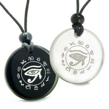 Love Couple Set All Seeing Feeling Eye of Horus Quartz Black Agate Pendant Necklaces