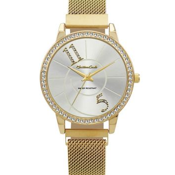 Montres Carlo Gold Stainless Steel Mesh Band Watch with Magnetic Strap and Silver Dial