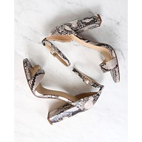 Snake Embossed Open Toe Ankle Strap Chunky Heel in Beige Brown