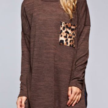 """WALK ON THE WILD SIDE"" Sweater with Leopard Trim"