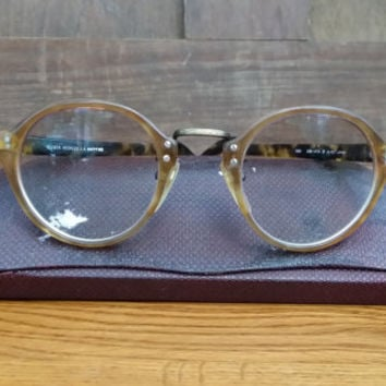 Vintage Tortoise Shell Style Unisex Oliver Peoples Eyeglass Frames Glasses With Case Optec Japan 1955
