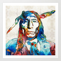 Native American Art - Warrior - By Sharon Cummings Art Print by Sharon Cummings