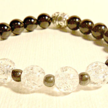 "Unisex Bracelet: Rock Quartz Crystal, Black Jasper And Hematite ""Guardian Angel"""