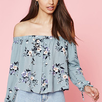 Kendall & Kylie Floral Off-The-Shoulder Button Front Top at PacSun.com
