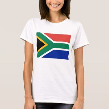 Women T Shirt with Flag of South Africa