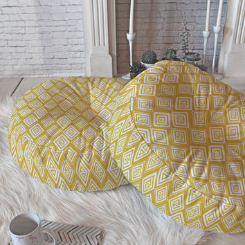 Heather Dutton Diamond In The Rough Gold Floor Pillow Round