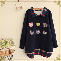 Cute cat splicing pullover coat