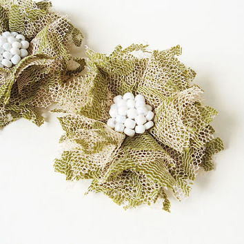 Green Lace Flowers Hair Clips, Women Hair Accessories