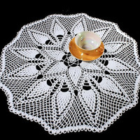 White Crochet Doily, 22 inches, Round, Pinecone