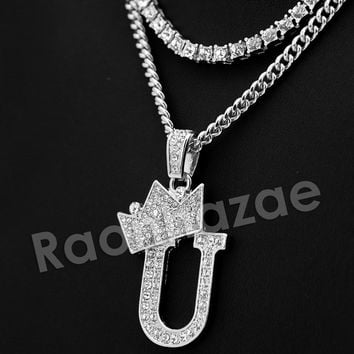 Iced Out King Crown U Initial Pendant Necklace Set.