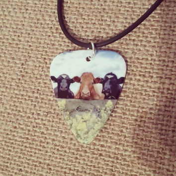 Three Cows Guitar Pick Necklace Cow Jewelry Country Girl gift MOO