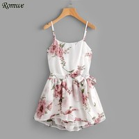 ROMWE Floral Print Random Tie Open Back Cami Romper White Rompers for Women Summer Sleeveless Sexy Chiffon Romper