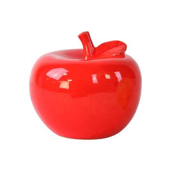 Pleasing Ceramic Apple Figurine- Large- Red- Benzara