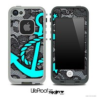 Black Lace and Turquoise Anchor Skin for the iPhone 5 or 4/4s LifeProof Case