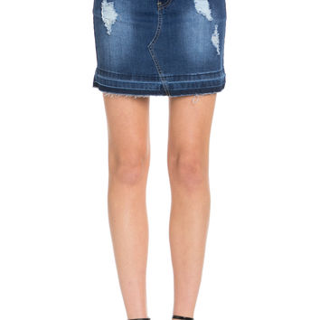 Distressed Blue Denim Mini Skirt