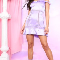 Lilac Satin Trim Detail Bardot Bodycon Dress
