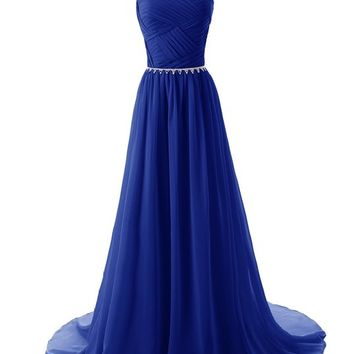 Dressystar Straps Bridesmaid Dresses Beaded Pleated Chiffon Gowns Size 26W Royal Blue