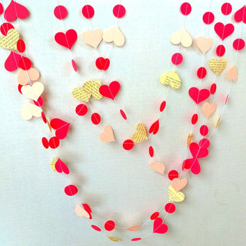 Pretty Paper Heart Garland / Red & Pink / 10 ft / Valentine Decor / Heart Bunting