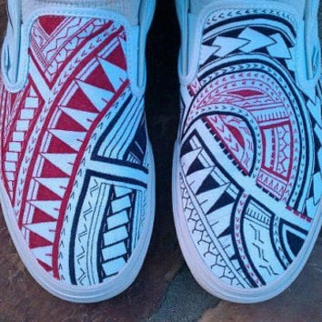 Custom Polynesian Tribal Vans Slip On Shoes