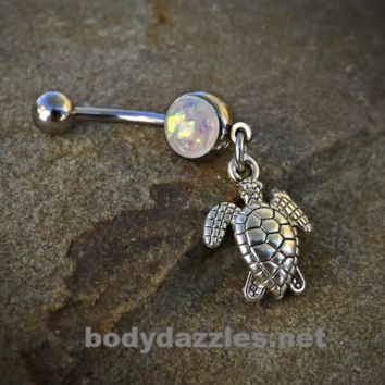 Turtle Glitter Opal White Belly Button Navel Ring 14ga