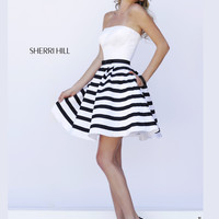 Sherri Hill Satin Skirt Cocktail Prom Dress 32200