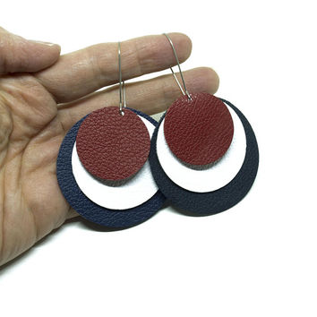 Red White and Blue Earrings - Leather Circle Earrings - Lightweight Summer Jewelry - Patriotic Gifts for Women - Fourth of July Style