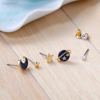 Moon, Planet and Star Earrings  (5 Pieces)