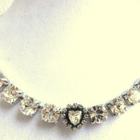 swarovski crystal bridal necklace-choker style-swarovski heart-better than sabika-wedding-FREE EARRINGS